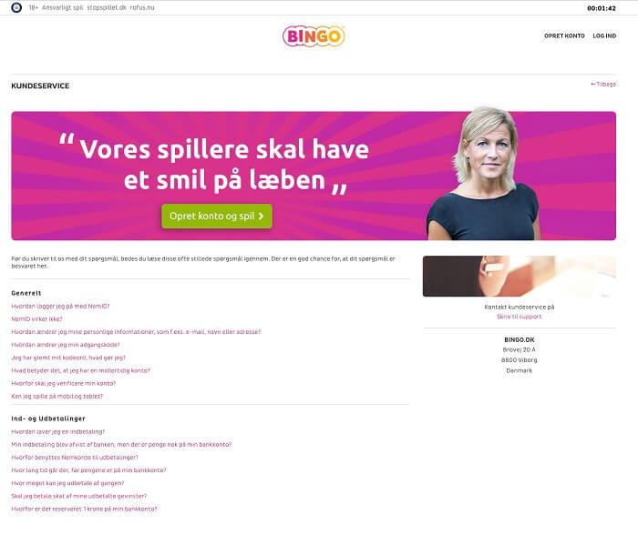 Bingo.dk-support