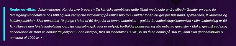 888casino bonus regler